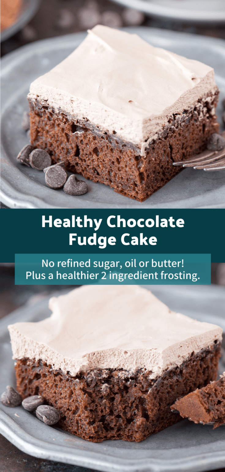 The BEST healthy chocolate fudge cake at 175 calories per piece! No granulated sugar, oil or butter - uses honey and greek yogurt. Plus there's a healthier frosting recipe that's only 2 ingredients. #healthycake #healthychocolatecake #healthydesserts #skinnychocolatecake