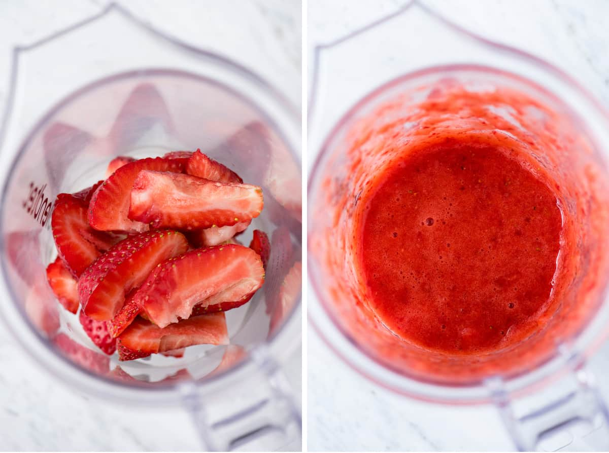 strawberries in blender and strawberry puree in blender collage
