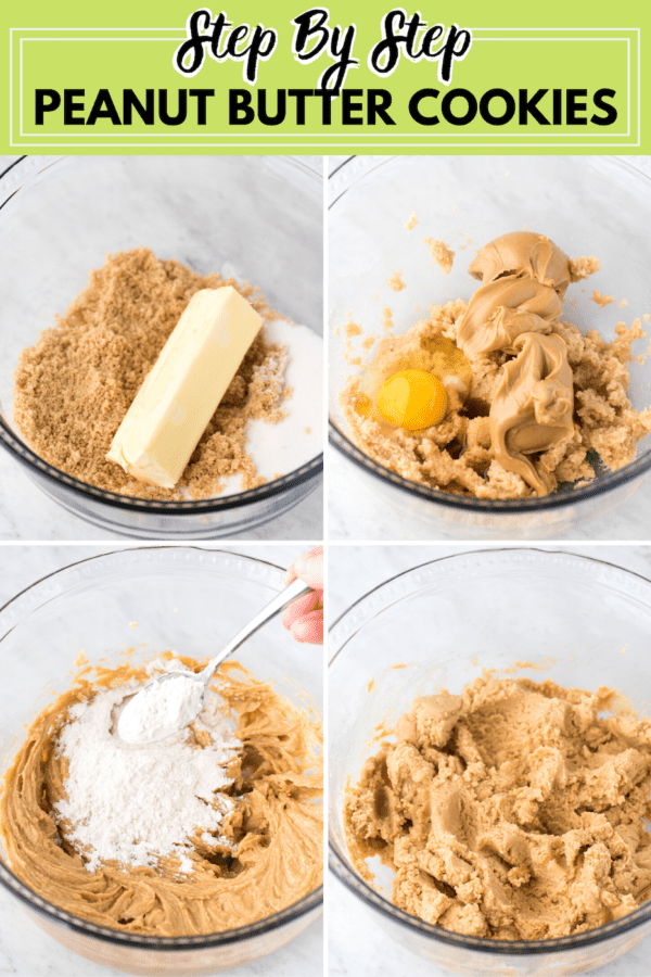 how to make peanut butter cookies collage with text overlay
