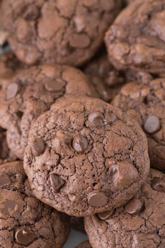 One of the best chocolate cookies - thick, chewy triple chocolate drop cookies!!