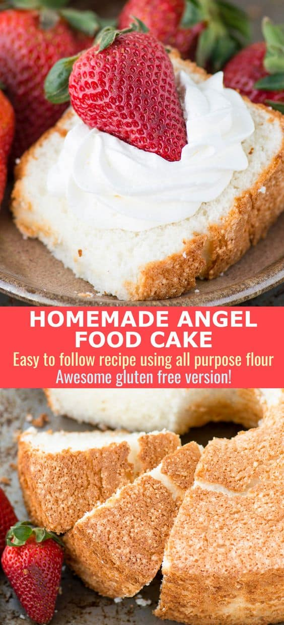 100% homemade angel food cake! This is the recipe that everyone will ask you for! This recipe shows you how to use all purpose flour instead of cake flour to make angel food cake, plus we've tested it multiple times and works GREAT with gluten free flour! #angelfoodcake #glutenfreeangelfoodcake