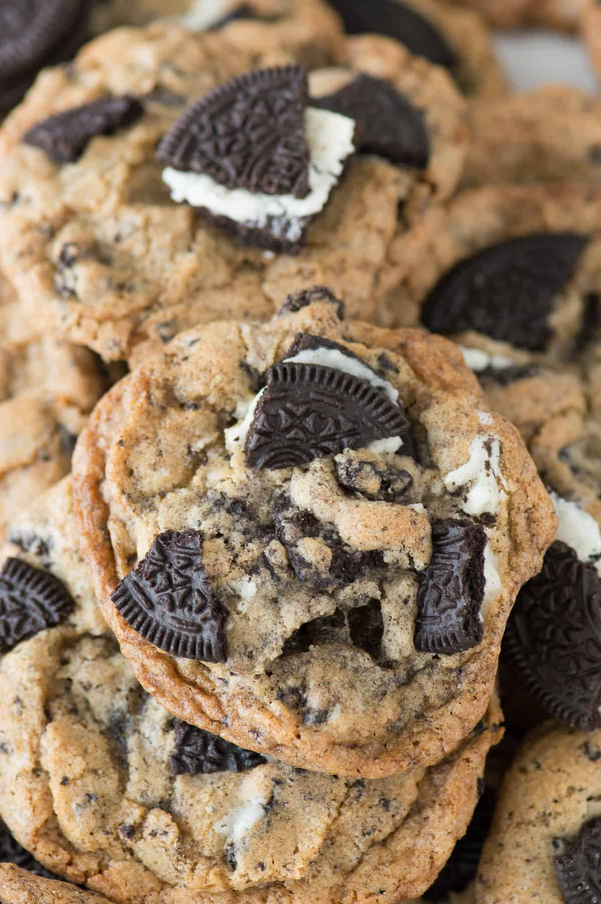cookies with oreo pieces in a pile