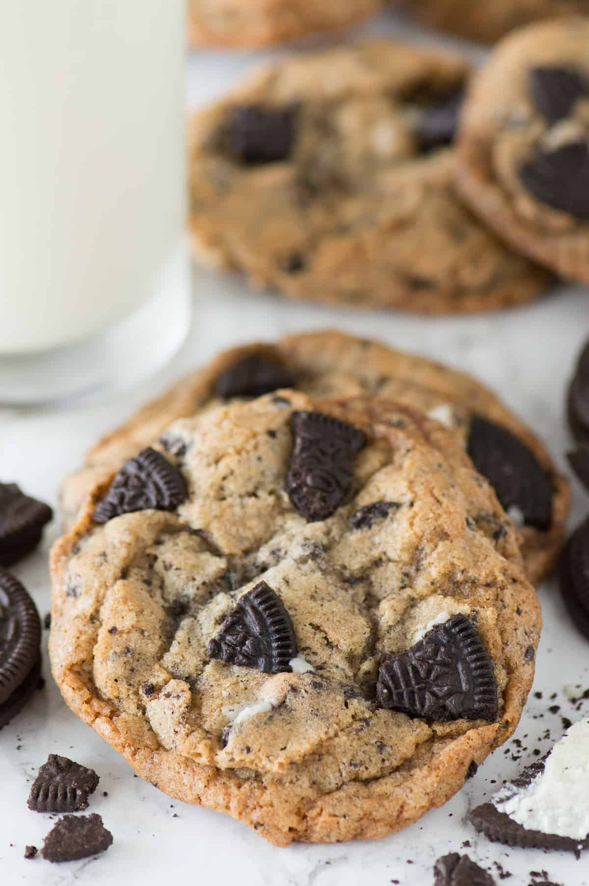 cookies with oreo pieces on white background