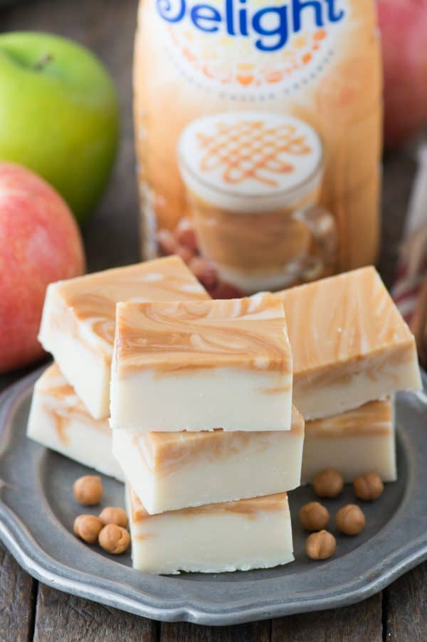 caramel apple fudge on metal place