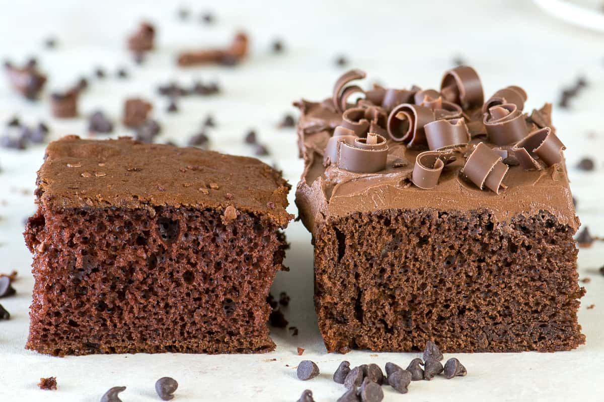 2 pieces of chocolate cake side by side on white background
