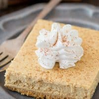 Easy to follow recipe for pumpkin cheesecake bars that are made in a 9x13 inch pan!