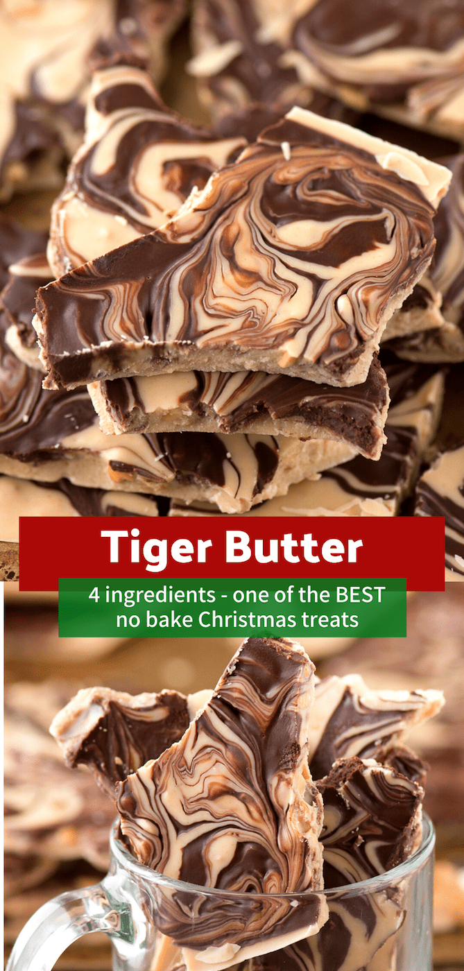 This 4 ingredient tiger butter bark is highly addictive and receives tons of compliments! It's a great holiday dessert to bring to parties or add to a cookie plate! #tigerbutter #christmasbark #nobakechristmas