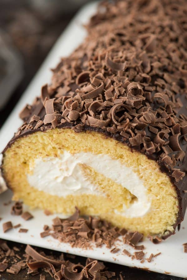 The flavor of this eggnog cake roll reminds me of Christmas! It's a vanilla sponge cake with eggnog cream cheese filling.