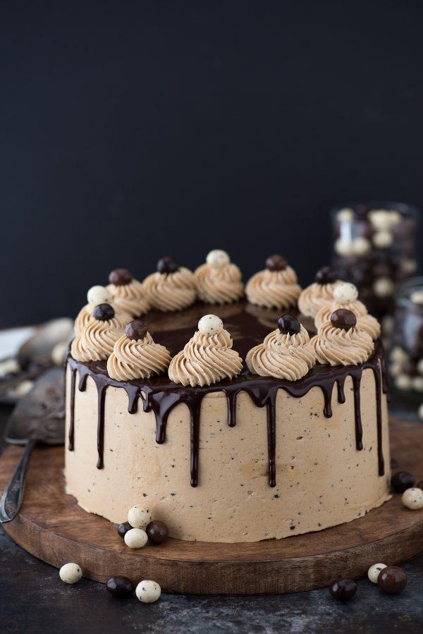 chocolate espresso cake on wood platter