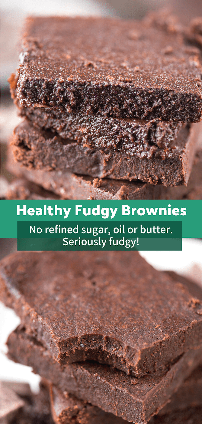 The healthier fudgy brownies of your dreams! No refined sugar, butter or oil, plus this recipe doesn't call for any out of the ordinary ingredients. These are seriously fudgy and estimated to be 174 calories a slice! #healthybrownies #skinnybrownies #coconutoilbrownies