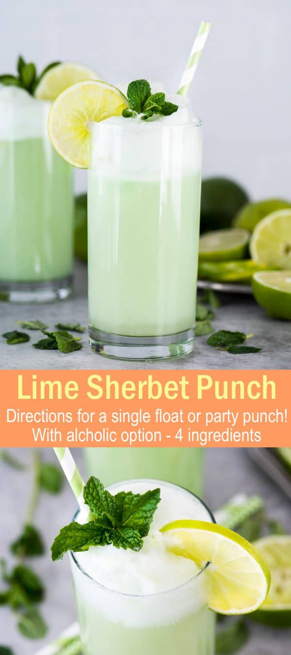 lime sherbet punch in glass with lime slice, mint sprig and striped straw