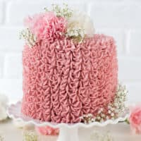 Made from scratch raspberry chocolate cake! Features 3 layers of classic chocolate cake with a raspberry jam buttercream.