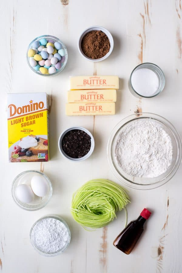 ingredients to make Egg Hunt Sugar Cookie Bars on white background
