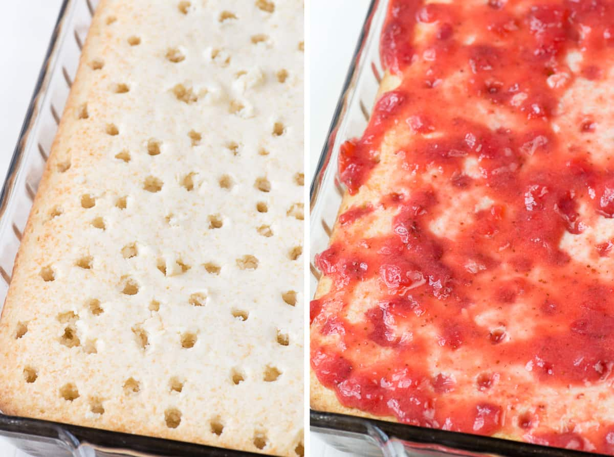 poke cake with holes on the left and poke cake with strawberry sauce on top on the right