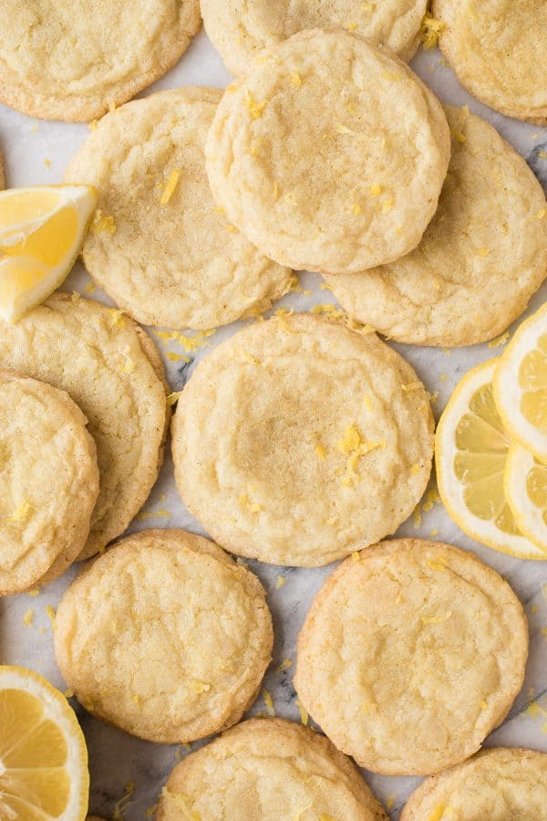 lemon cookies on white background with lemon slices