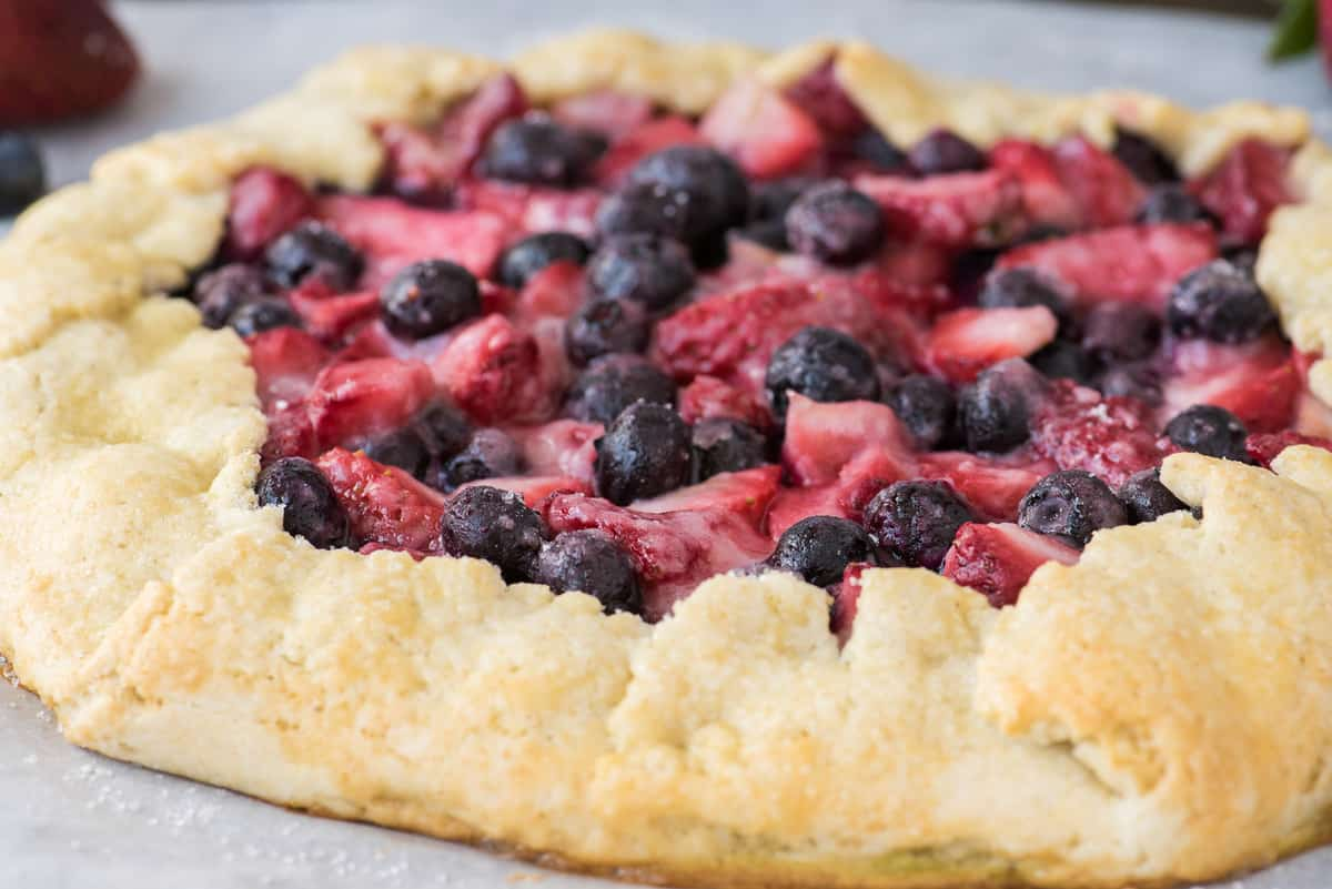 mixed berry galette with strawberries and blueberries