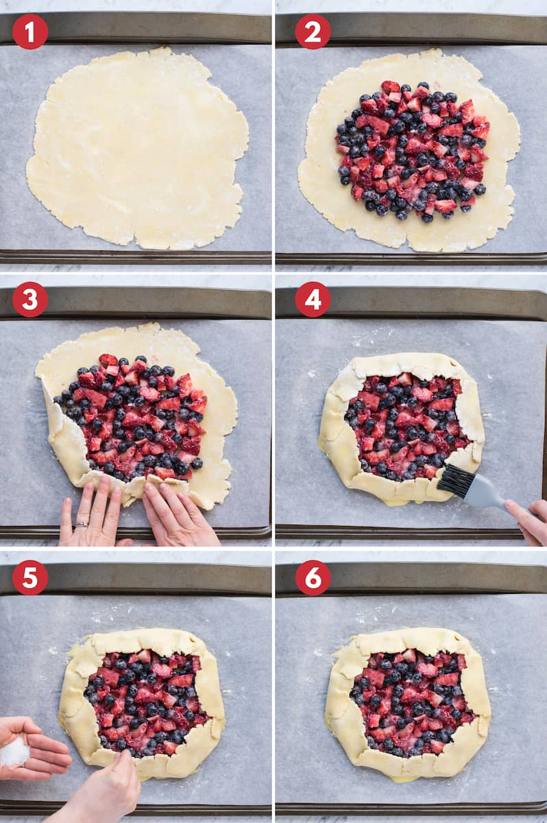 6 steps to make a mixed berry galette collage image