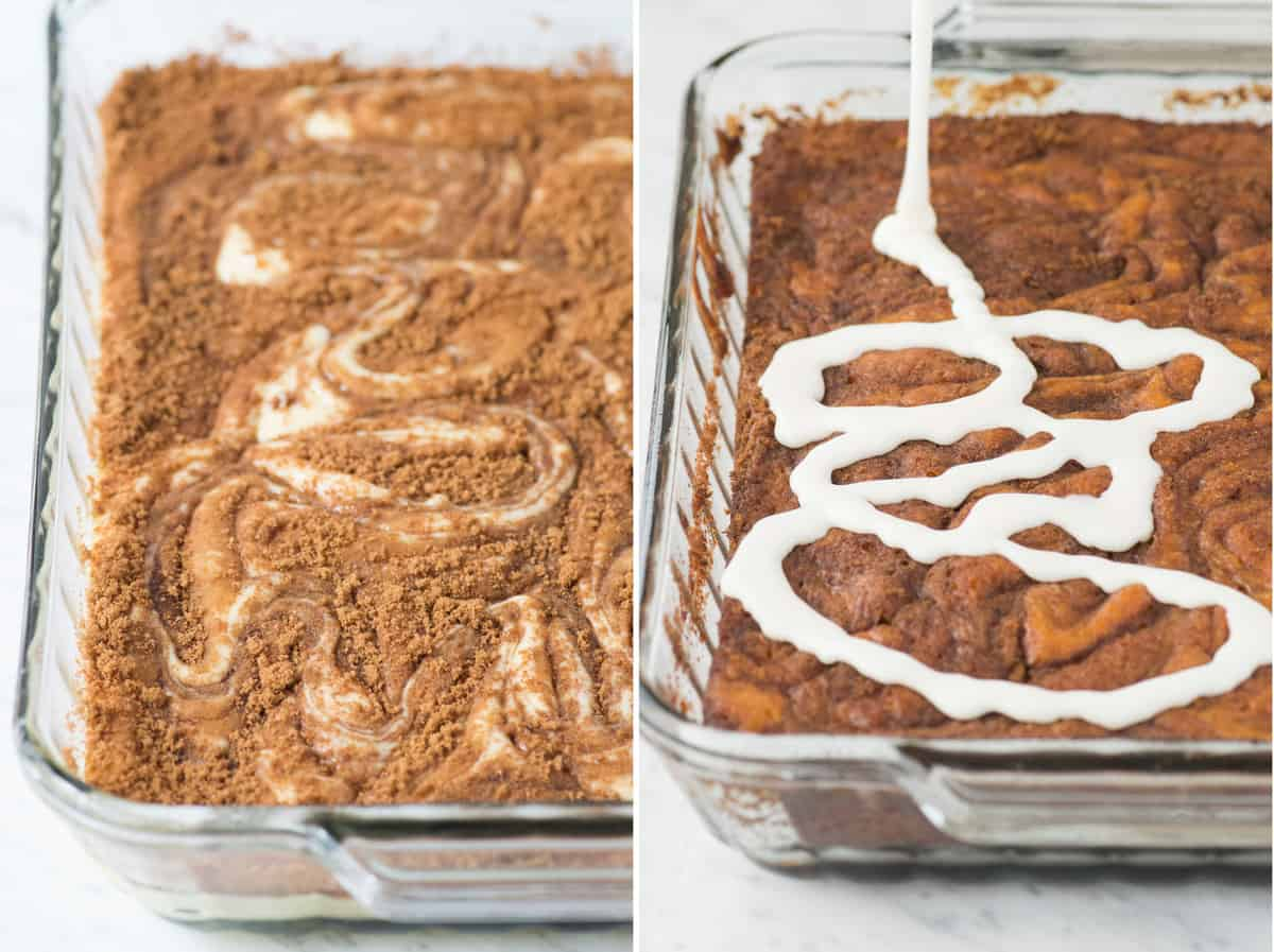 Left picture: cinnamon swirl cake before being baked Right picture: cinnamon swirl cake with white glaze being poured