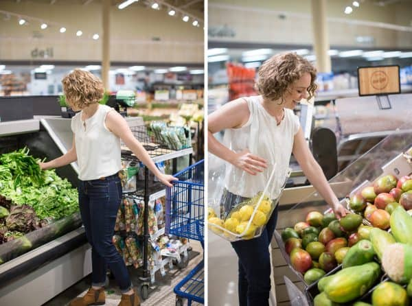 2 photos, woman in grocery store shopping for spinach and mango