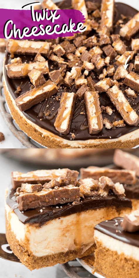 This twix cheesecake has all your favorite caramel chocolate flavors!! Creamy Philadelphia style cheesecake with caramel sauce swirled into the cheesecake and a thick layer of chocolate ganache topped with twix candy bars and caramel sauce. #twixcheesecake #turtlecheesecake #cheesecake