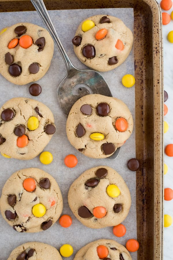 peanut butter cookies with reeses pieces candies and chocolate chips on metal baking sheet