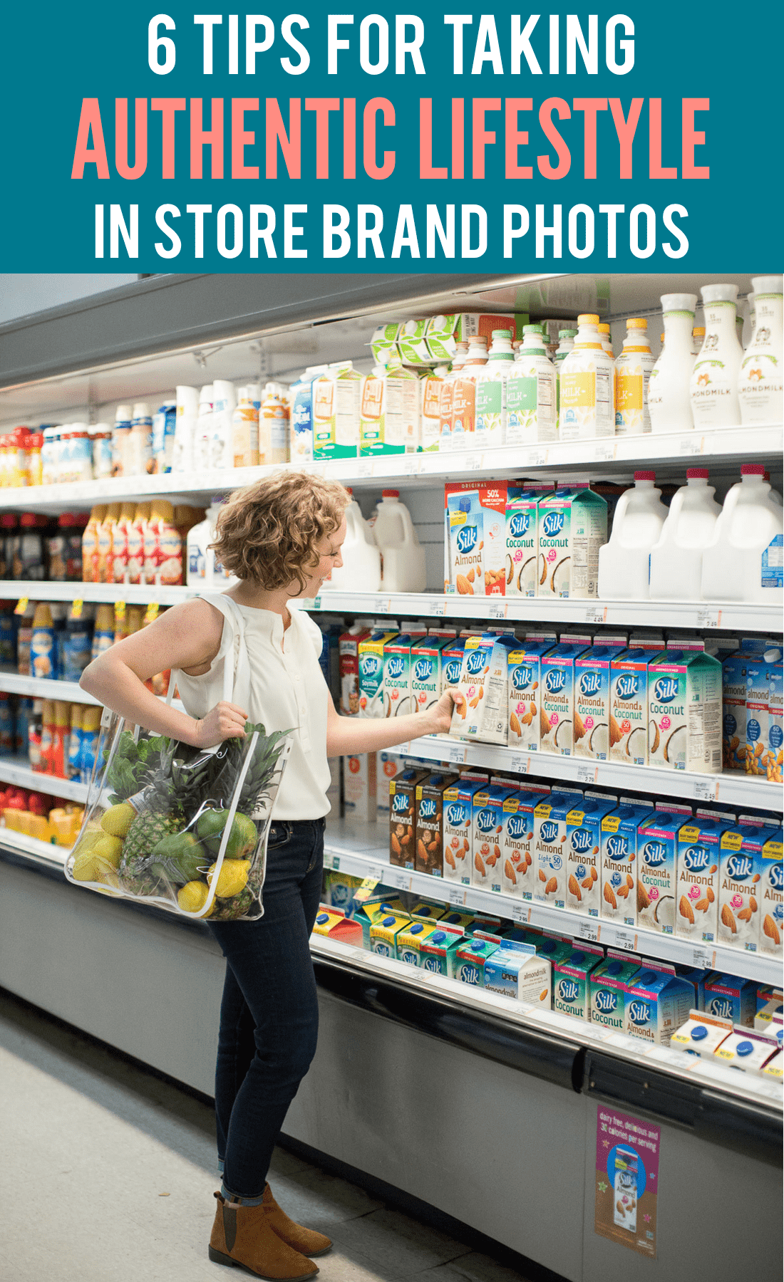 Learn how to take authentic brand photos in a store. 6 tips for influencers and bloggers when taking sponsored brand photos in a grocery store, clothing store, or out shopping anywhere!