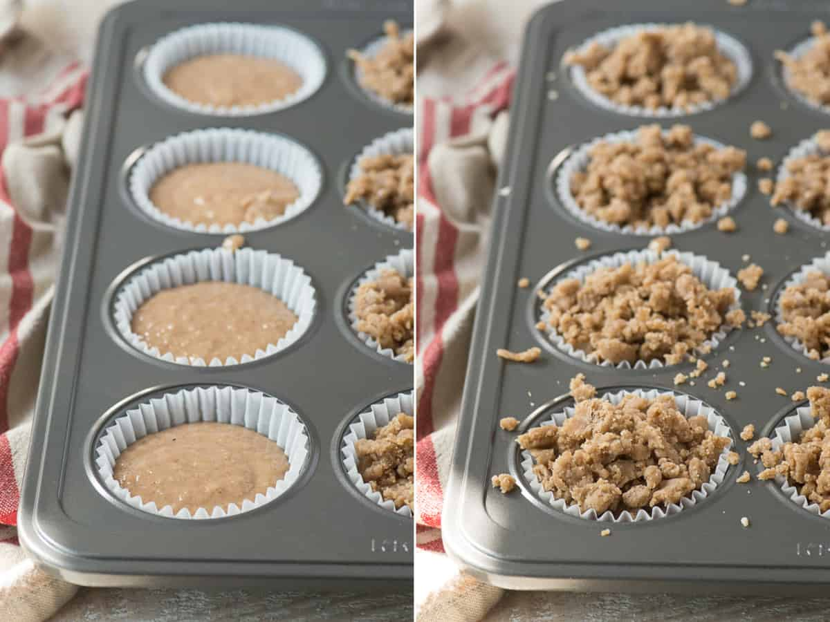 applesauce spice muffins in muffin pan on the left and applesauce spice muffins with crumb topping in muffin pan on the right