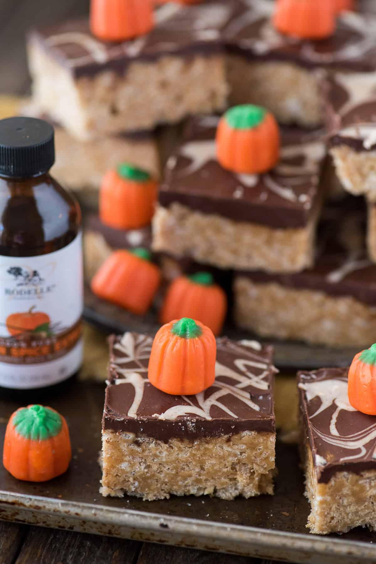 pumpkin spice scotcheroo bar on metal baking sheet