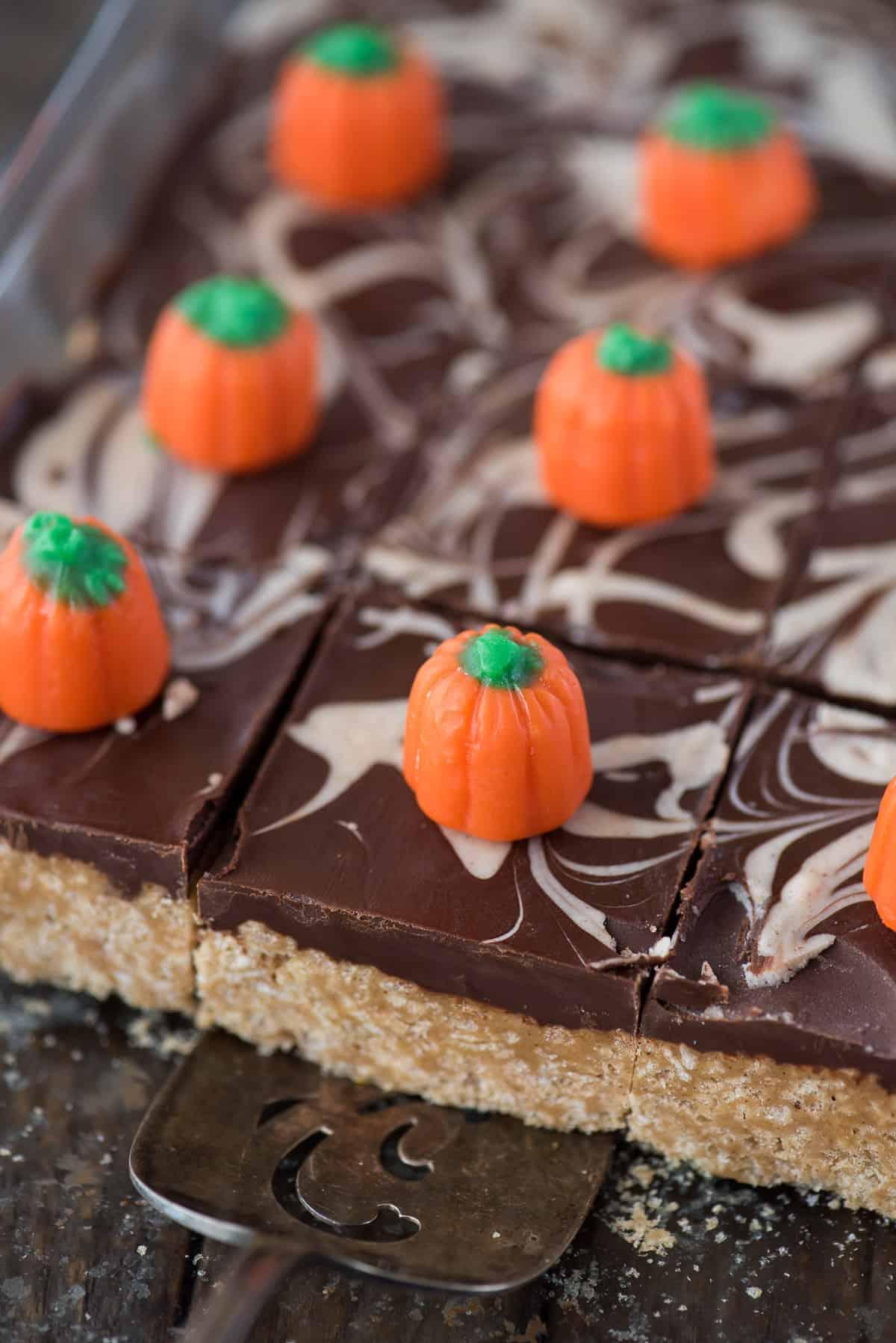 pumpkin spice scotcheroo bars in 9x13 inch pan with candy corn pumpkins on top