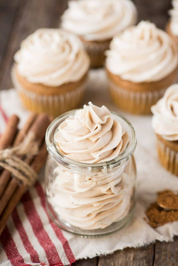 spiced buttercream piped in to a glass jar