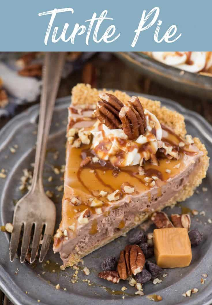 Easy to make classic turtle pie! This no bake turtle pie has a 4 ingredient filling that is creamy and rich. Add pecans, caramel and chocolate sauce and you have a quick homemade turtle pie! #turtlepie #nobaketurtlepie #nobakepie