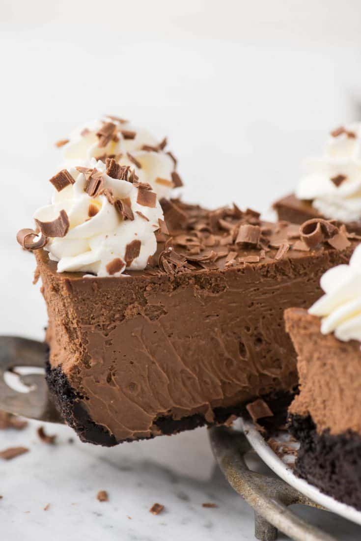 This is a classic chocolate cheesecake recipe that you'll use over and over! The cheesecake batter has 5 ingredients and turns out to be so creamy and chocolate-y! Plus, you can do an oreo crust or graham cracker crust for this chocolate cheesecake.