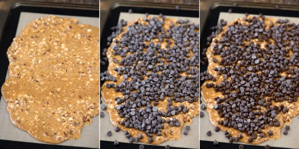 3 collage pictures of how to melt chocolate chips on toffee