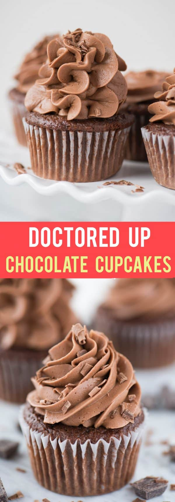 doctored up chocolate cupcakes with chocolate frosting on white background