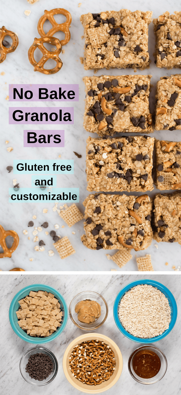 No bake granola bars with peanut butter and honey. Customize these homemade granola bars with gluten free, refined sugar free, and dairy free options!