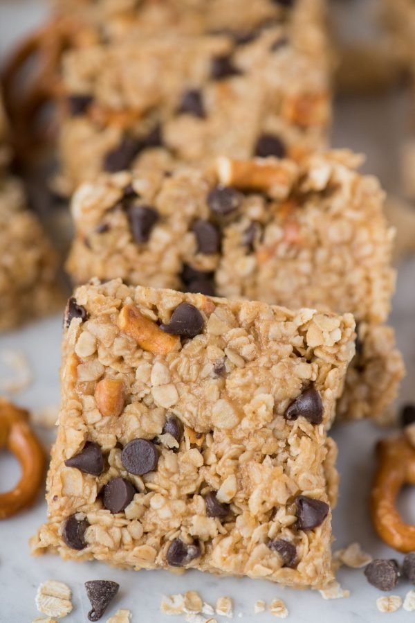 no bake oatmeal granola bars on white background