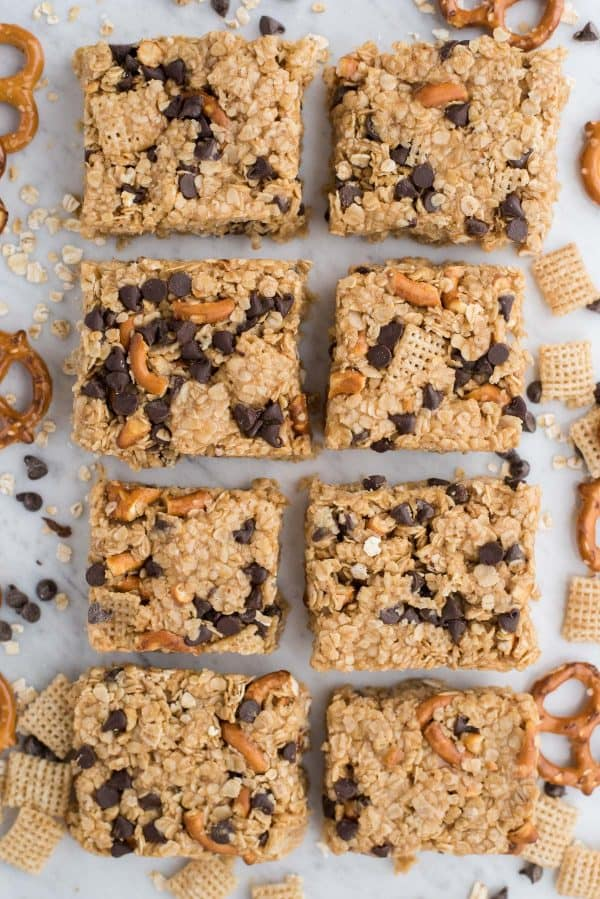 no bake granola bars in 2 rows on white background