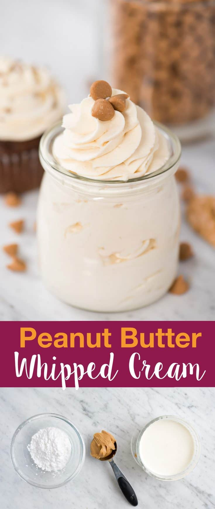 Easy to make peanut butter whipped cream frosting! This peanut butter whipped cream makes a great frosting for cake & cupcakes. Includes recipe note for how to make keto peanut butter whipped cream.