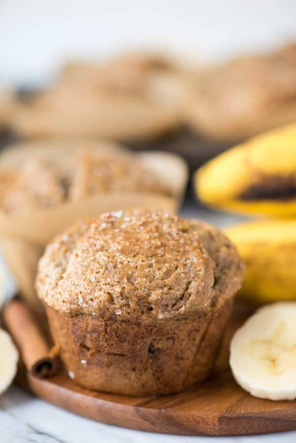 banana muffin on wooden tray