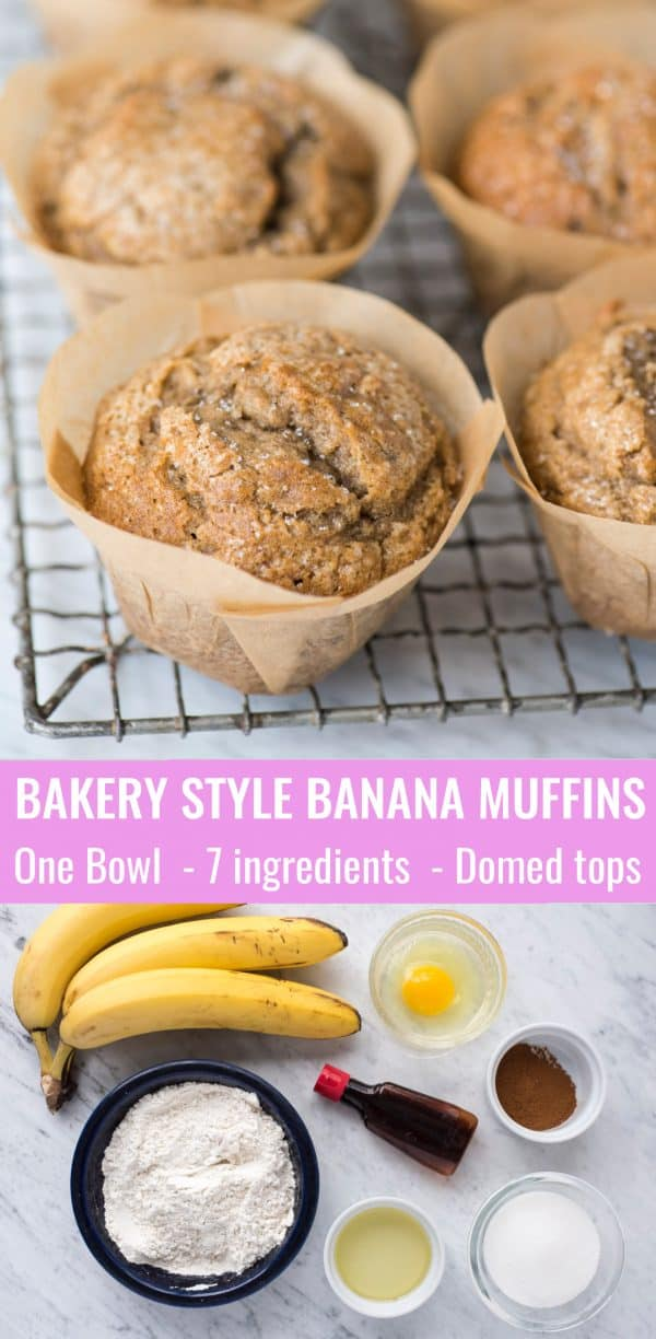 banana muffins in brown parchment paper liners on metal cooking rack