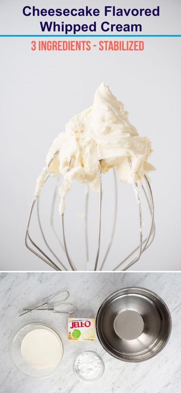 collage image of cheesecake whipped cream with kitchenaid whisk with whipped cream on it