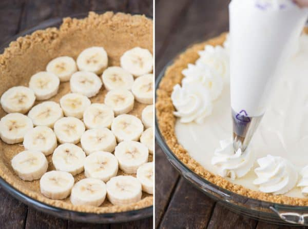 banana cream pie collage with graham cracker crust and bananas on left and whipped cream swirls being piped on on the right