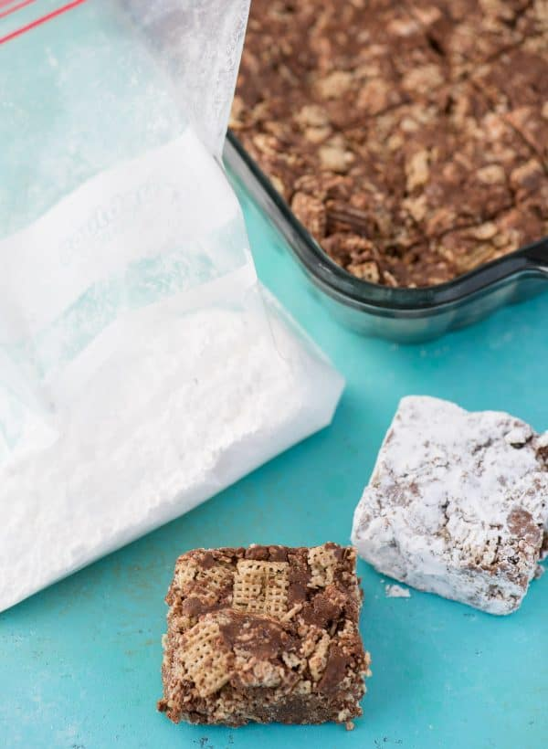 puppy chow bars with bag of powdered sugar