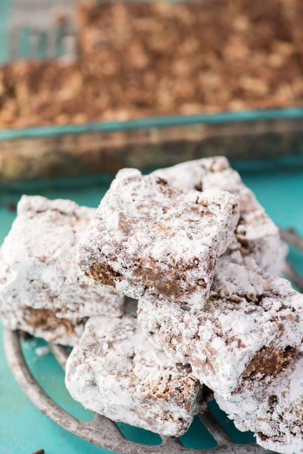 puppy chow bars in pile on metal tray
