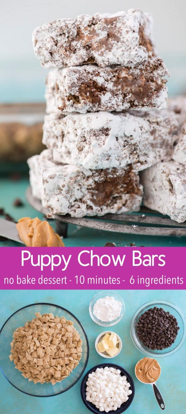 puppy chow bars stacked on top of each other