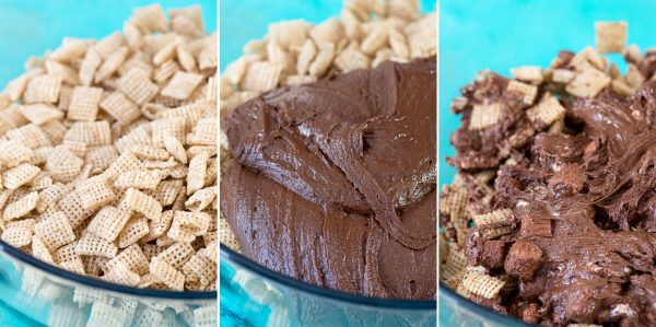 collage photo for how to make puppy chow bars