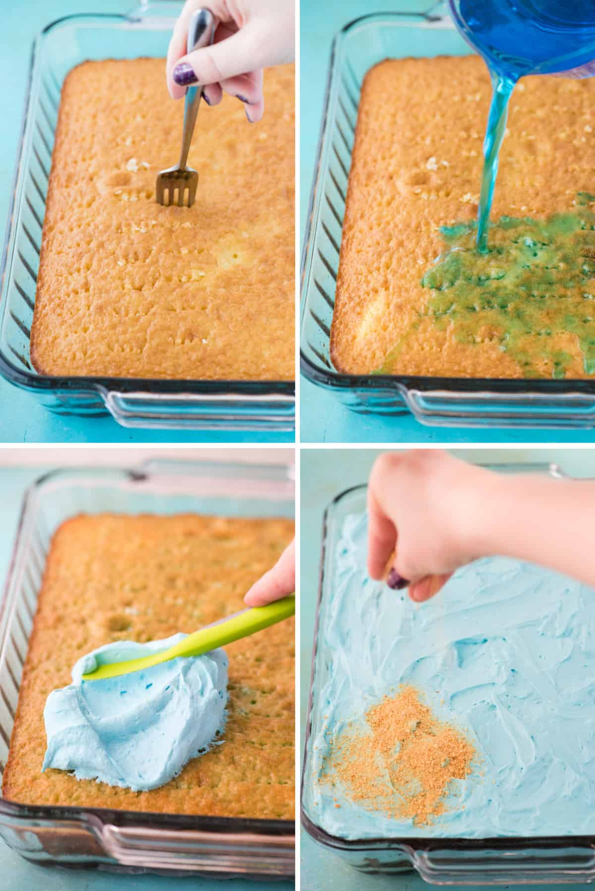 how to make a poke cake, cake in glass 9x13 inch pan with fork poking holes in cake, blue jello mixture being poured over cake