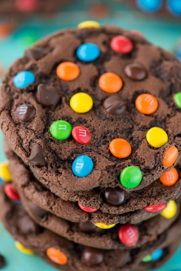 double chocolate chip cookies with m&ms and chocolate chips