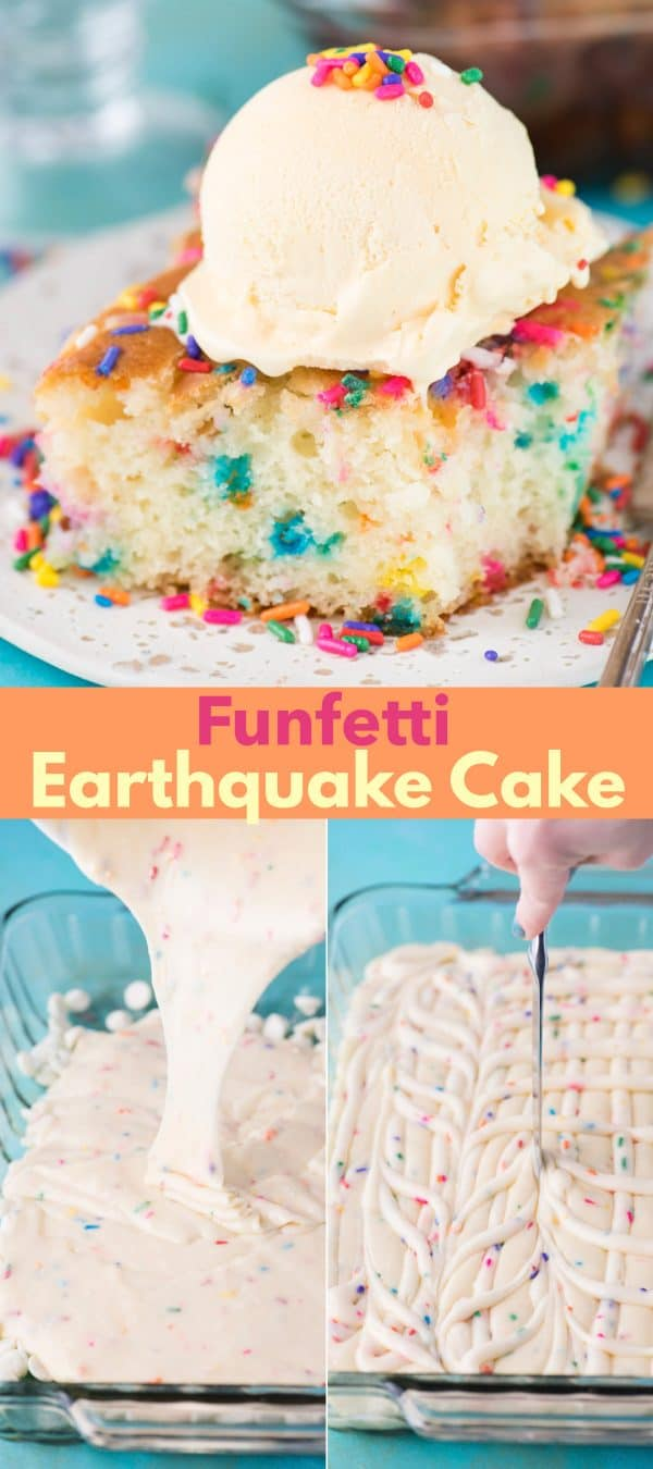 slice of funfetti earthquake cake with scoop of vanilla ice cream on white plate on blue background