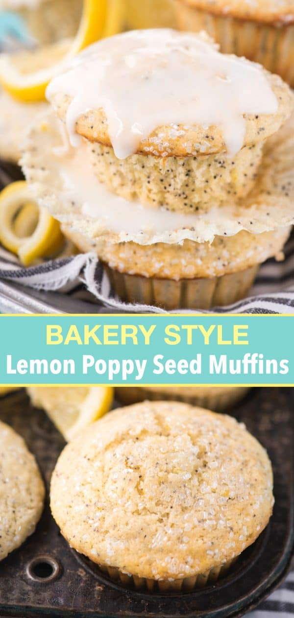 lemon poppy seed muffin with lemon glaze drizzled on top with text overlay